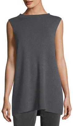 Eileen Fisher Mock-Neck Sleeveless Washable Crepe Tunic, Plus Size