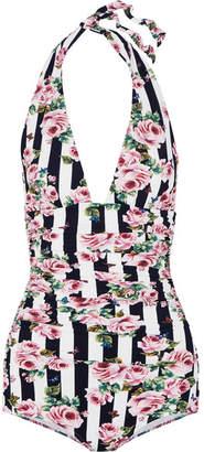 Dolce & Gabbana Ruched Printed Halterneck Swimsuit - Black