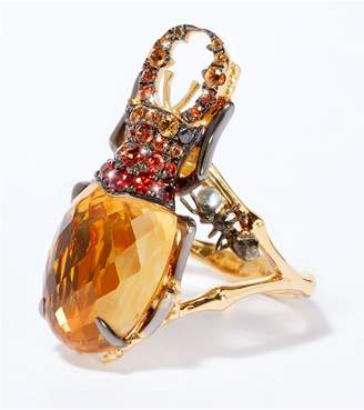 Annoushka Yellow Gold, Citrine and Diamond Beetle Ring