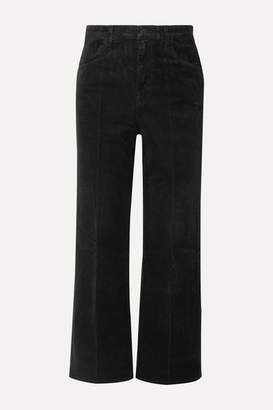 J Brand Joan Cropped Cotton-blend Corduroy Wide-leg Pants - Black