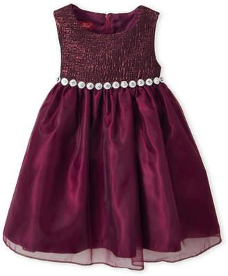 Princess Faith (Toddler Girls) Aubergine Rhinestone Waist Dress