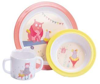 Moulin Roty Childrens Melamine Dinner Set - Pink Owl & Mouse | Baby Gifts