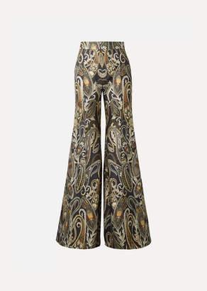 Chloé Metallic Silk-blend Jacquard Flared Pants - Navy