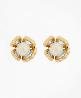 Brooks Brothers Floral Glass Pearl Stud Earrings