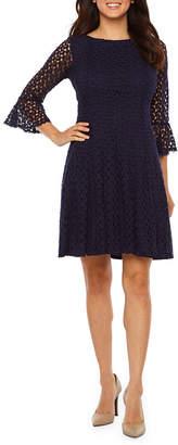 Rabbit Rabbit Rabbit DESIGN Design 3/4 Bell Sleeve Lace Fit & Flare Dress
