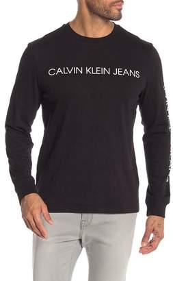 Calvin Klein Logo Printed Long Sleeve Crew Neck Top