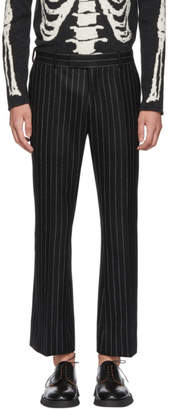 Alexander McQueen Black and White Pinstripe Wool Trousers