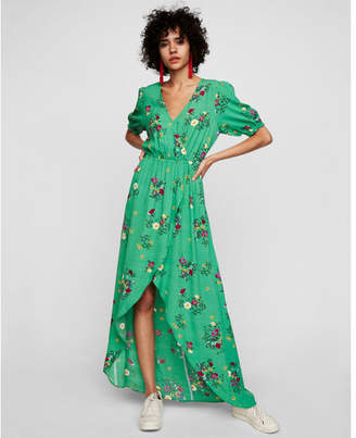 Express floral wrap front ruffle maxi dress