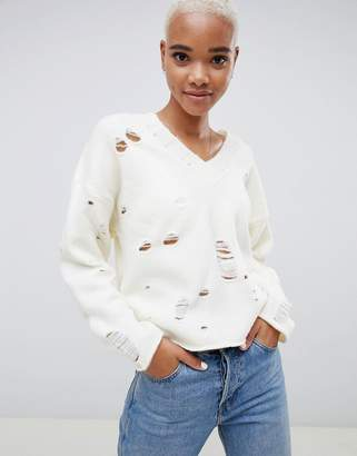 Asos DESIGN Sweater with V-Neck and Rolled Edges