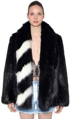Off-White Stripes Detail Faux Fur Jacket