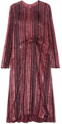 Sies Marjan - Maude Metallic Devoré-velvet And Chiffon Midi Dress - Purple