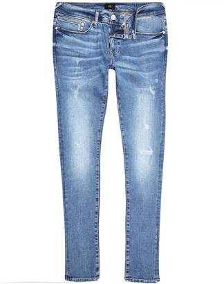 Next Mens River Island Mid Blue Danny Rip Super Skinny Jean