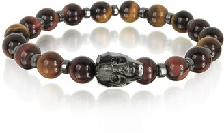 Swarovski Blackbourne Brown Tigers Eye Small Stone Men's Bracelet w/Gunmetal Crystal Skull