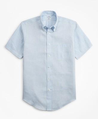 Brooks Brothers Regent Fit Gingham Irish Linen Short-Sleeve Sport Shirt