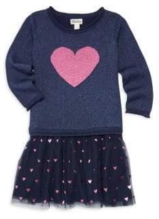 Hatley Little Girl's& Girl's Glitter Heart Drop Waist Sweater Dress