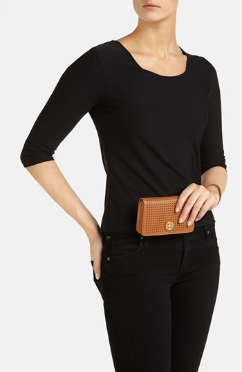Tory Burch 'Robinson - Perf' Zip Continental Wallet