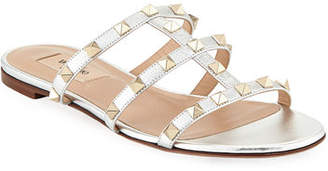 Valentino Rockstud Leather Flat Slide Sandal
