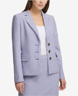 DKNY Three-Button Tweed Blazer