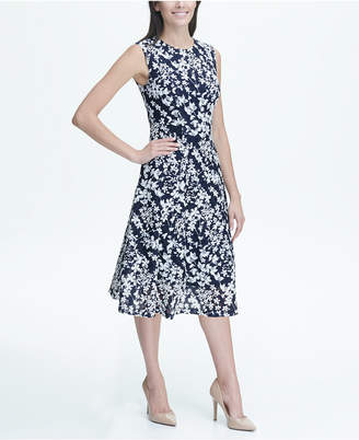Tommy Hilfiger Floral Printed Dot Lace Fit and Flare Midi Dress