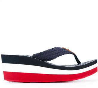 Tommy Hilfiger wedge stripe flip flops $65.85 thestylecure.com