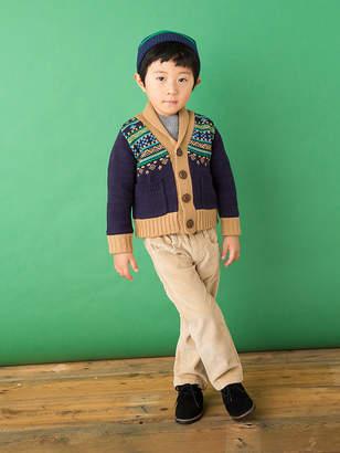 Ami e フェアアイル柄 配色トリム ショールカラー ニットジャケット ブラウン 85