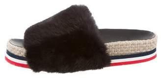 Moncler Fur Slide Sandals