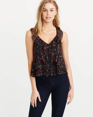 Abercrombie & Fitch Ruffle V-Neck Shell