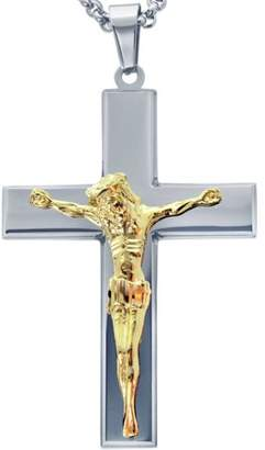 AMERICAN STEEL American Steel Jewelry Men's Stainless Steel Cross with Gold Tone Jesus with Chain
