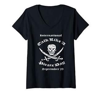 Womens International Talk like a Pirate Day Jolly Roger Black V-Neck T-Shirt