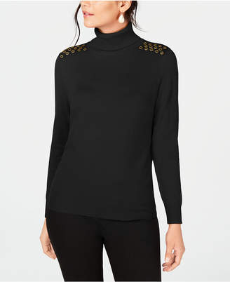JM Collection Embellished Turtleneck Sweater