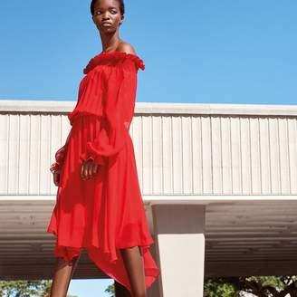 Preen Studio by Red Chiffon Shirred Bardot Dress