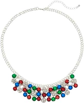 Simulated Crystal & Bead Chain Bib Necklace