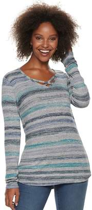 Sonoma Goods For Life Petite SONOMA Goods for Life Supersoft Crisscross Long Sleeve Top