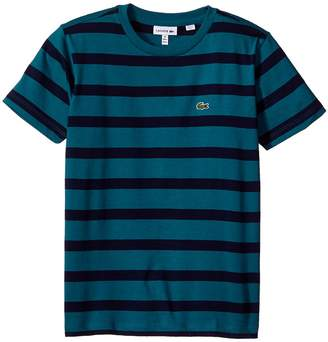 Lacoste Kids Short Sleeve Heathered Stripe Crew Neck Tee Shirt Boy's T Shirt
