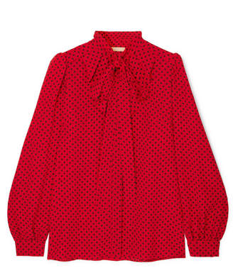 Michael Kors Pussy-bow Polka-dot Silk-georgette Blouse - Red