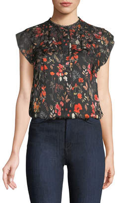 Elie Tahari Mala Floral-Print Silk Blouse