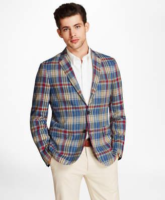 Brooks Brothers Plaid Three-Button Linen Twill Sport Coat