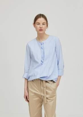 Hache Striped Cotton Blouse Blue