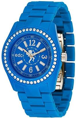 Esprit edc by Women's Glam Disco Quartz Watch with Blue Dial Analogue Display and Blue Plastic strap