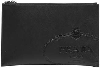 Prada Embossed Leather Clutch Bag