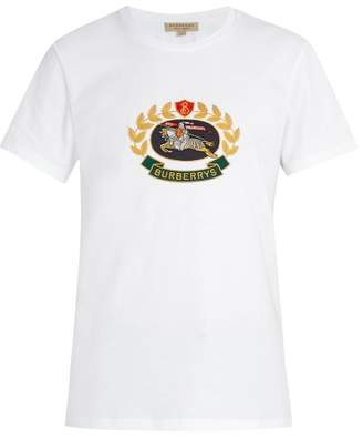 Burberry Crest Embroidered Cotton T Shirt - Mens - White