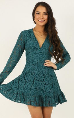 Showpo Love and Leave Dress in teal lace - 6 (XS) Going Out Outfits