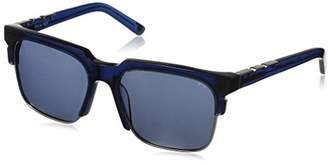 DAY Birger et Mikkelsen Pared Eyewear and Night Navy with Gunmetal Rim Wire Solid Grey Square Sunglasses