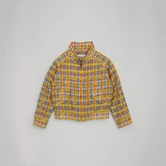 Burberry Scribble Check Cotton Silk Harrington Jacket