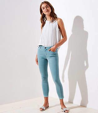 LOFT Petite Curvy Unpicked Skinny Crop Jeans in Mineral Blue