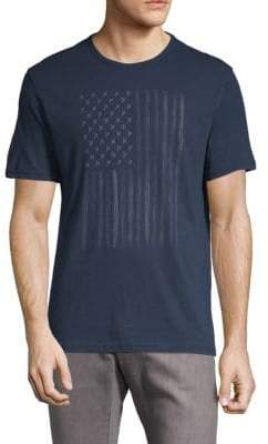 John Varvatos Zipper Star Stud Flag Graphic Cotton Tee