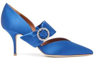 Malone Souliers Maite Crystal Buckle Satin Pumps - Womens - Blue