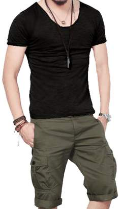 Stylish&Young Men's Casual Slim Fit Round Collar Short Sleeve Pure Color Tee T-Shirt Tops (L, )