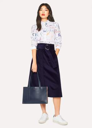 Paul Smith Women's Indigo Corduroy A-Line Midi Skirt With Belt