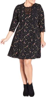 City Chic Dream Ditsy Floral Print Dress
